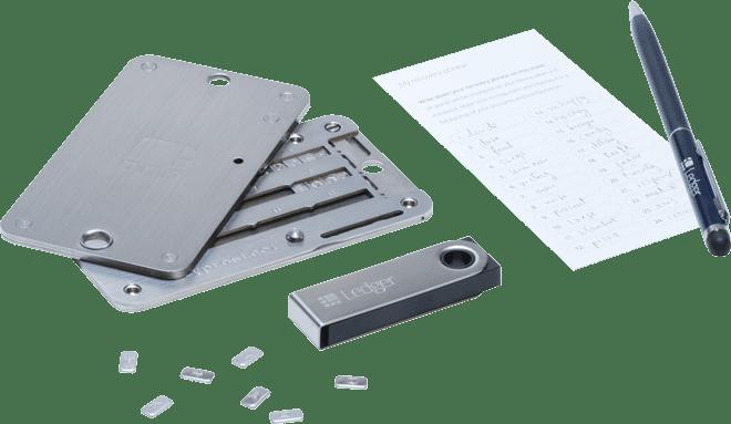 Ledger-wallet-nano-s-con-cryptosteel-y-hoja-de-recuperacion